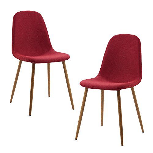 Versanora VNF-00025DR Minimalista Fabric Set of 2 Chairs, Deep Red