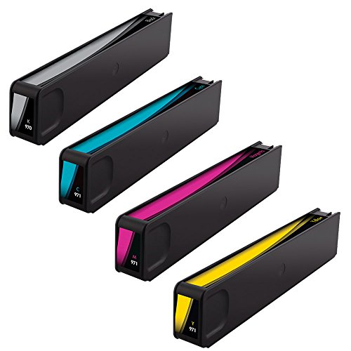 Do it Wiser Compatible Ink for HP Officejet Pro X451DN X451DW X476DN X476DW X551DW X576DW - 970XLK 971XLC 971XLM 971XLY - Black 9,200 Color 6,600 Pages - 4 Pack