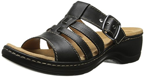 Clarks Hayla de mujer Cavern sandalias de cuña Negro