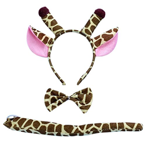 Marlegard 3PCs Funny Dalmatian Milk Leopard Costume Headband Ear with Tail Tie (Brown Giraffe)