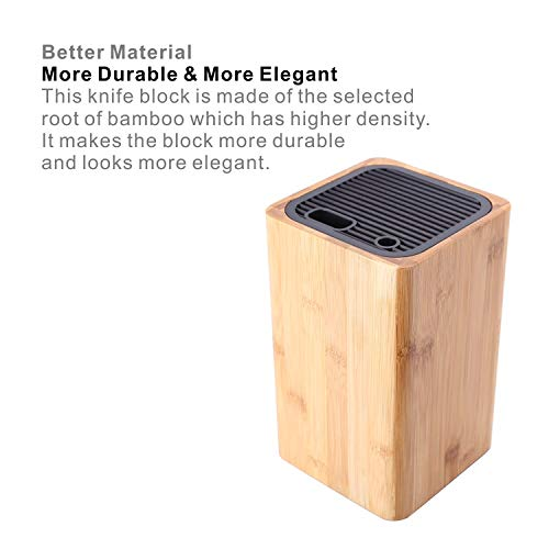Deluxe Universal Knife Block with Slots for Scissors and Sharpening Rod - Eco-Friendly Bamboo Knife Holder For Safe, Space Saver Knives Storage - Unique Slot Design to Protect Blades - by KITCHENDAO by KITCHENDAO (Image #3)