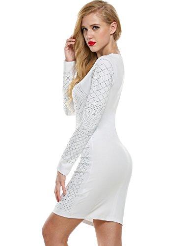 Et Robe Blanc Manche Slim Femme Dcoup Clubwear Cocktail Meaneor Midi Crayon Robe Longue Sexy qfxzCTBw
