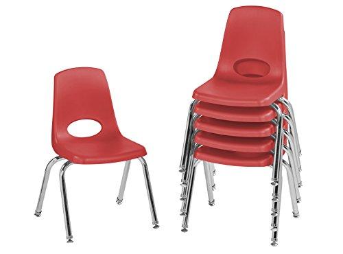 ECR4Kids 14'' School Stack Chair, Chrome Legs with Nylon Swivel Glides, Red (6-Pack) by ECR4Kids