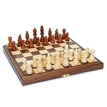 WE Games Wood Folding Chess Set with Beveled Edges - 11.5 inch Walnut Board