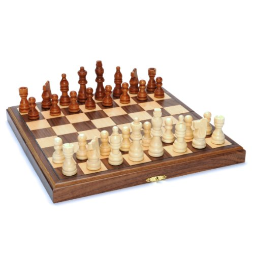 Wood Folding Chess Set with Beveled Edges - 11.5 inch Walnut Board (Set Chess Wood Popular)