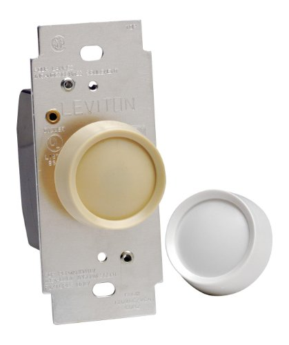 Rotary Dial Switch - Leviton 6602-IW Trimatron Electro Mechanical Non-Preset Rotary Dimmer, 120 Vac, 600 W, 1 P, 3 Way, Ivory, White