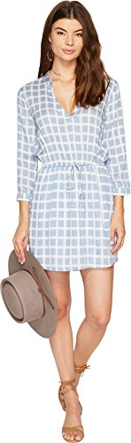 BB Dakota Women's Daniella Plaid Printed Shirt Dress, Faded Denim, Small