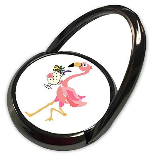 3dRose All Smiles Art - Drinking - Funny Cute Pink Flamingo Bird Drinking Pina Colada Beach Cartoon - Phone Ring (phr_315988_1)