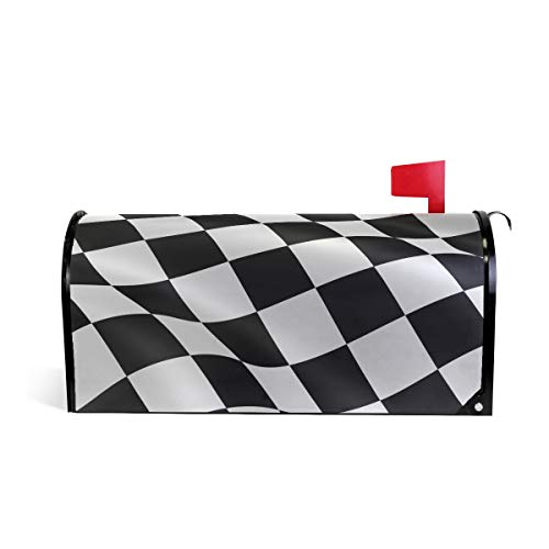 LORVIES Checkered Flag Magnetic Mailbox Cover Standard Size 20.8 x 18 Inch