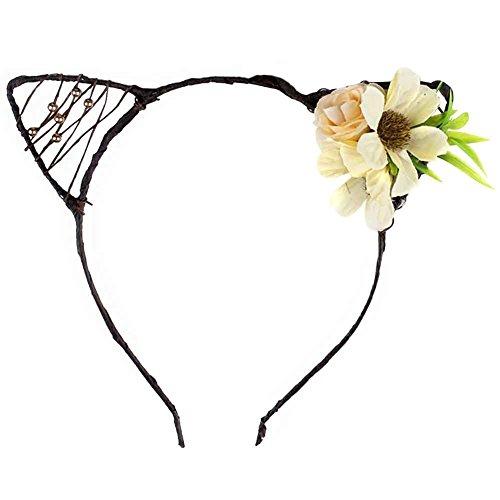 [Cat Ears Elf Rose Daisy Flower Headband Hairband Costume Halloween Hair Hoop (E Beige)] (Daisy Flower Headband Costume)