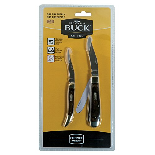 Buck Trapper (Buck Knives Trapper & Toothpick 2pk Set Modified Pocket Clip 382 385 Folding Lockback)