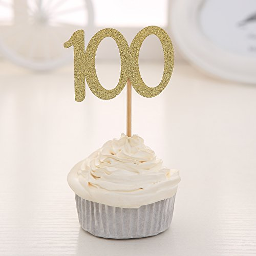 Set of 24 Golden Glitter Number 100 Cupcake Toppers Baby's One Hundred Days 100th Celebrating Party Decors ()