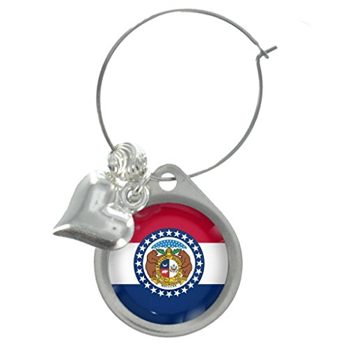 Missouri US State Flag Wine Glass Charm with Decorative Beads