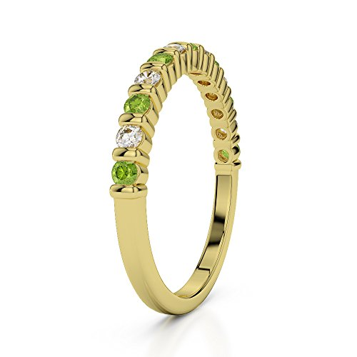 Or jaune 18carats 0,15CT G-H/VS Certifié Coupe ronde Péridot et diamants Agdr-1095