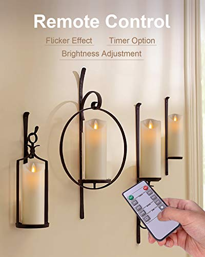 5PLOTS Flameless Candles with Remote and Timer (H7'' x D2.2'') - Flickering LED Pillar Candles with Dancing Flame - Battery Operated, Ivory Wax, Set of 6 by 5PLOTS (Image #3)