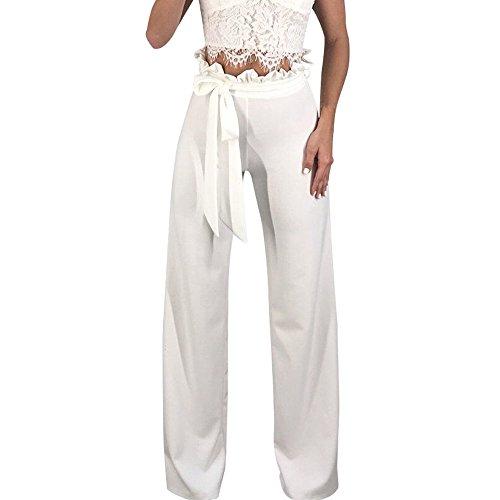Casual Larges Décontra Jambes Unie Pour Femmes Couleur Blanc En Amuster Taille Haute Loose Solide Pantalons Coton Pantalon Harlan Large f8qxwS6