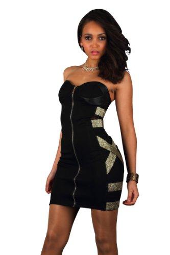 Fashion4Young - Robe - Brassière - Femme noir noir/or