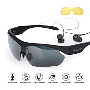 EVERYONE GAIN K2 Sports Wireless Bluetooth Music Sunglasses Outdoor Smart Touch Stereo Handsfree Headset Headphone for Men Women Cycling Riding Running iPhone Sumsung galax HTC LG Mobile Phone