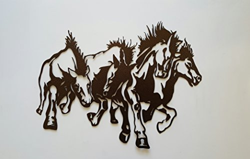 Horses Running Metal Wall Art Country Rustic Home Decor