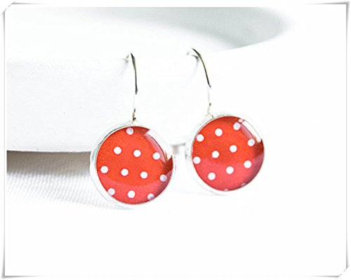 Red polka dot earrings, bright red earrings,Dome glass jewelry, pure - Dot Polka Dome