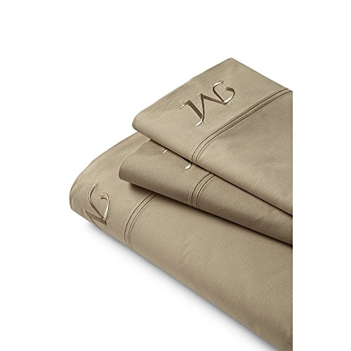 Lands' End School Uniform 200 Percale Solid Pintuck Sheets, K, Desert Khaki by Lands' End