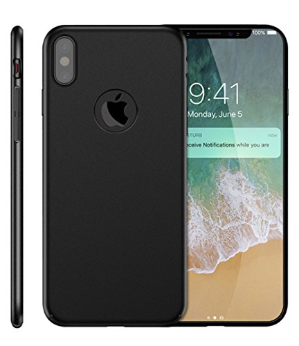 iPhone X Case SunRemex Frosted Shield Shell [Ultra Thin Luxury PC] Full Protective Anti-Scratch Resistant Cover with Soft Microfiber Cloth Lining Cushion for Apple iPhone X (Black)