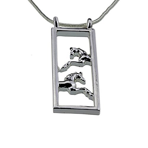 Silver Galloping Prancing Horse Necklace Jewelry Gift for Woman Mom Mother Little (3 Piece Rodeo Girl)