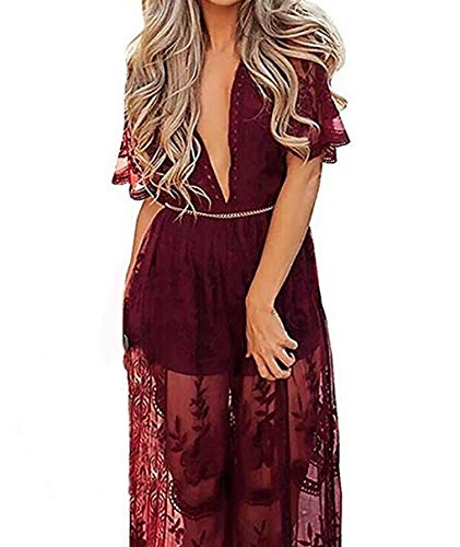 Wicky LS Women's Sexy Short Sleeve Long Dress Low V-Neck Lace Romper (S, Wine Red)