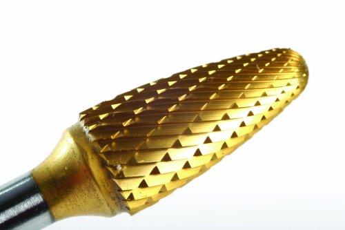 (Champion Cutting Tool SF51 Tin Coated Miniature Bur, Tree Shape Radius End Solid Carbide, 1/4-Inch Cutter Diameter 1/2-Inch Cutter Diameter)