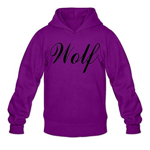 Kevin Nash Costume (RABBEAT Men's Hoodie Black Wordart Wolf Size XL Purple)