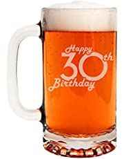 Etched 16oz Glass Beer Mug - Happy 30th Birthday - 30 Years Old Gifts