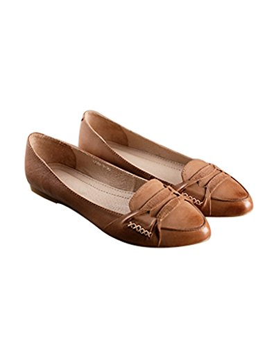 ronde plates Femmes Chaussures Fait main Abricot en Youlee cuir Tête WI7qRRA