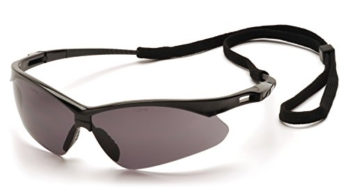 Pyramex Safety PMXTREME Eyewear, Black Frame with Cord, Gray Lens, Black