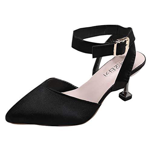 - 【MOHOLL 】 Women's Ankle Strap Stiletto Heel Dress Sandals Elegant Wedding Party Shoes Pointed-Toe Heels Black