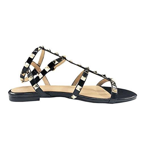 MERUMOTE Women's Rivets Studs Strap Black Flats Summer Daily Buckle Flat Sandals 178-Black-P 10.5 US