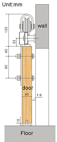 8ft Sliding Barn Wood Door Sliding Track Kit for Big Barn Door Work with Two Opening (8ft-arrow kit) by DIYHD (Image #6)