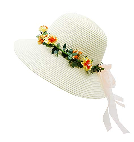 Lovful Floppy Tea Party Hats Flowers Straw Hat for Women, Style2_White