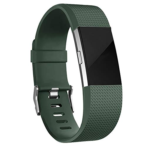 iGK Replacement Bands Compatible for Fitbit Charge 2, Adjustable Replacement Bands with Metal Clasp Classic Edition Olive Green Large