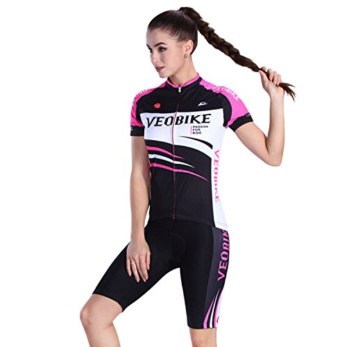 SUNVP Women Short Sleeve Cycling Jersey with 3D Gel Padded Quick Dry Outfits Bicycle Clothing Sets For Road Bike Climbing Racing(Black/White/M)