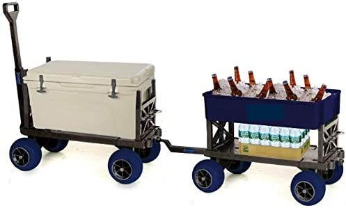 Equipment Wagon Cart Rolling 4 Wheel Pull Behind Cooler Ice Chest Garden Cart Two Carts Plus Hitch, Blue Tub Blue Wheels