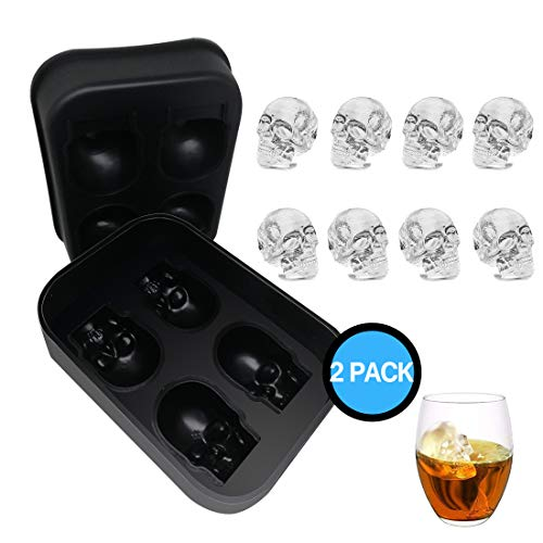 3D Skull Ice Mold Tray | Large Size 4 Cavity Food Grade Silicone Flexible Ice Maker for Whisky Jelly Candy Chocolate Cocktails - Awesome Halloween Christmas Gift, BPA Free