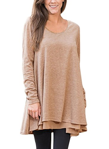 Dokotoo Womens Plus Size Casual Ladies Fall Long Sleeve Layered Swing Tunic Tops Long Blouse T Shirt For Work Under 10 Brown X-Large