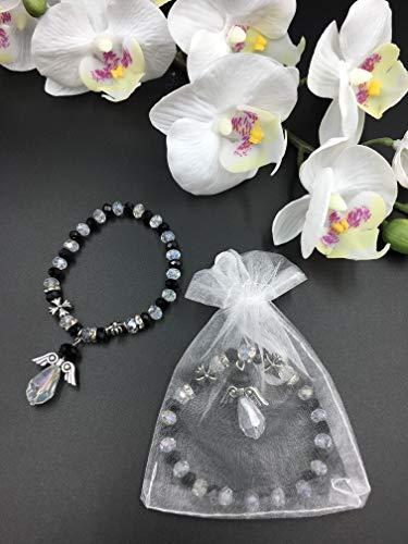 12 PCS Crystal Angel Charm Bracelet Black - Baptism Favor/Christening Favor/Recuerdos de Bautizo/Quinceanera/Baby Shower ()