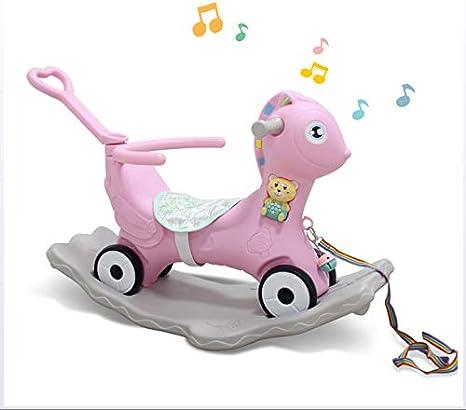 JTYX Caballo Mecedora para niños Cuatro en uno Multifunción Trojan Padded Baby Rocking Chair Regalo de cumpleaños para 1-6 años