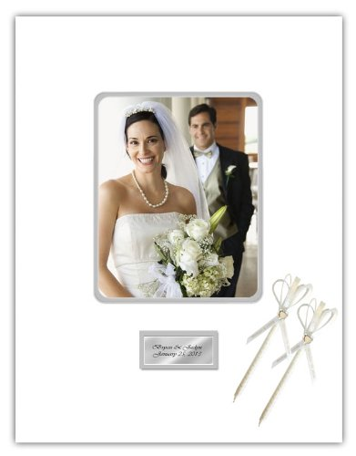 Signature Picture Photo Mat Round Corner Guest Book 16x20 Top Mat (White) Inner Matted (Gray) 2 Pens Holds 8x10 Portrait Picture Free Engraving Silver or Gold Plate Wedding Guestbook Photograph Photo Frame Guest Book