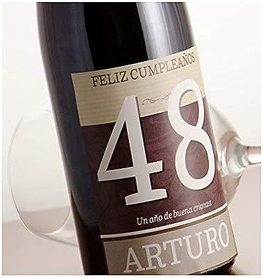 Regalo Personalizable para cumpleaños: Botella de Vino Feliz cumpleaños Personalizada con su Nombre y Edad