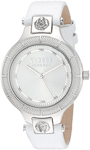 Versus by Versace Women's 'Claremont' Quartz Stainless Steel and Leather Watch, Color:White (Model: VSP480118)