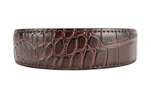 Alligator Coffee Premium Reptile Leather Belt Strap Only with High Strength Nylon Backing - Nexbelt Ratchet System Technology