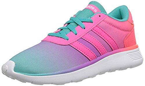 Adidas Neo Lite Racer K Kids Running Shoe  Little Kid Big Kid  Vivid Mint Flash Pink Solar Pink 4 M Us Big Kid