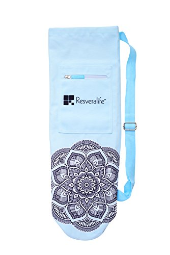 Resveralife Yoga Mat Sling Bag | Super Stylish, Extra Large Yoga Bag with Drawstring that Helps Fit Relaxation Into Your Busy Schedule | Blue by Resveralife